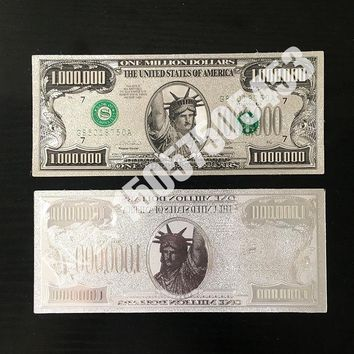 1pcs 24k Gold Banknote US 1 Million Dollars Bill Paper Money Souvenir Currency Silver Banknote collection home Decro ornament