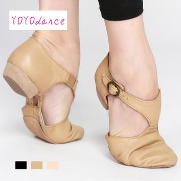 Black Tan Pink Leather Teacher Jazz Dance Sandal Shoes for  Teachers Professional Sandals Shoes Jazz Dance Shoes