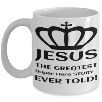 Catholic Mugs Coffee Mug Christianity Coffee Cup Religious Art Print Artsy Jesus Christ Decorative Pencil Holder Black Ceramic 11 oz pba Free Dishwaher Safe Easter 2017 2018 Jesus Super Hero Story