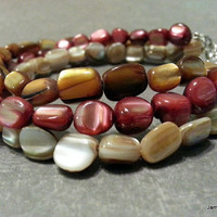 3 Strand Shell Bracelet with Red, Gold, and Natural Mother of Pearl Pebble Beads and Toggle Clasp - Beachy Bracelet - 3 Strand Bracelet