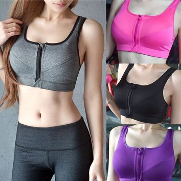 2019 Women Running Shockproof Sports Bra Padded Wirefree With Front Zipper Closure Adjustable Strap High Impact Fitness Tops