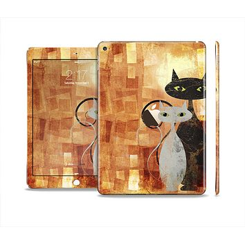 The Orange Grungy Textured Cat Skin Set for the Apple iPad Air 2