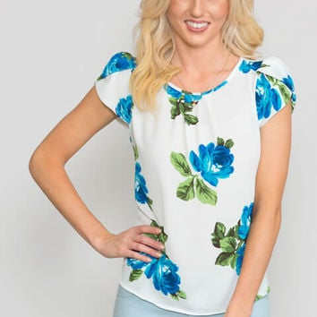 Floral Pleated Puff-Sleeve Top