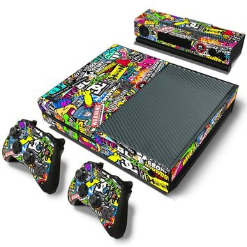 Bomb Graffiti Style Vinyl Skin Sticker Cover For Xbox ONE Console with 2 Controllers Protective Skin Decal For Xbox One Gamepad