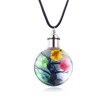 Romantic Love Glass Wishing Bottle Pendant Necklace Women Pink Green Yellow Natural Flower Necklace Jewelry Girl Friend Gift B2