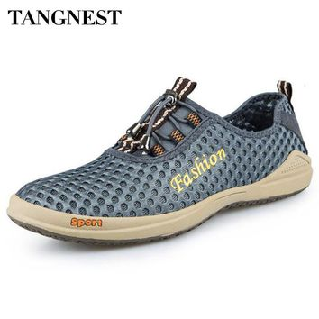 Tangnest Men's Mesh Casual Shoes New 2017 Men Slip-on Breathable Flats Man Casual Water Shoes Charm Man Loafers XMR2497