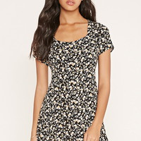 Buttoned Floral Mini Dress