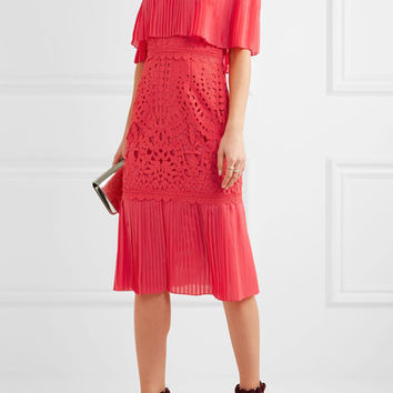 Temperley London - Berry off-the-shoulder chiffon and guipure lace dress