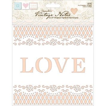 "Papermania Vintage Notes Self-Adhesive Fabric Paper 12""""X12""""-Filigree Lace"