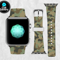 Green Camo Pattern Jungle Camouflage Wood Camoflage Apple Watch Band Leather Strap iWatch for 42mm and 38mm Size Metal Clasp Watch Print