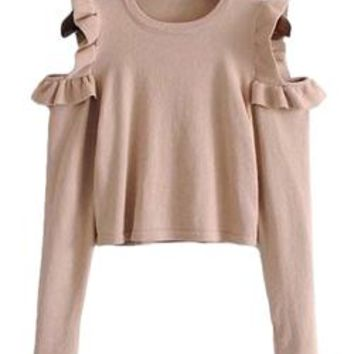 'Luella' Frill Cut Out Shoulder Top (2 Colors)