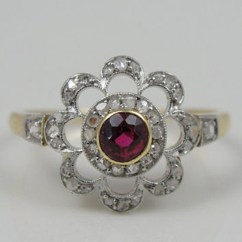 Ruby Red Center in Art Deco Cocktail, Diamond 14K Yellow Gold Ring - RGRY132P