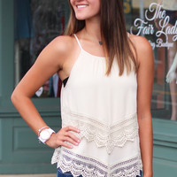 Miami Heat Crochet Trim Tank {Cream}