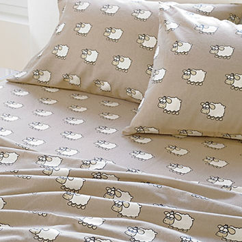Counting sheep cotton flannel sheet
