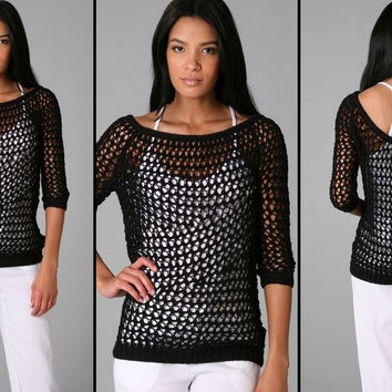 Theory Nimue B Crochet Sweater In Black Or White