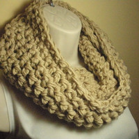 Neutral Off-White Cowl Infinity Circle Scarf Neckwarmer
