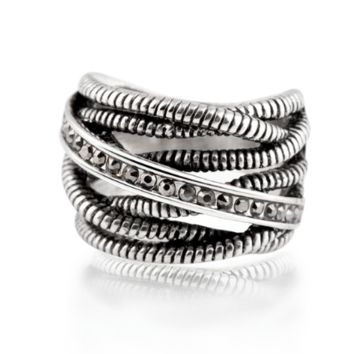 Antique silver Plated Retro layered Ring