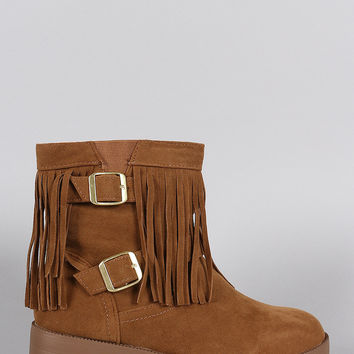 Suede Fringe Side Buckled Ankle Boots