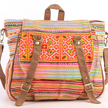 Tribal Messenger Diaper Bag Backpack Ethnic Shoulder Embr