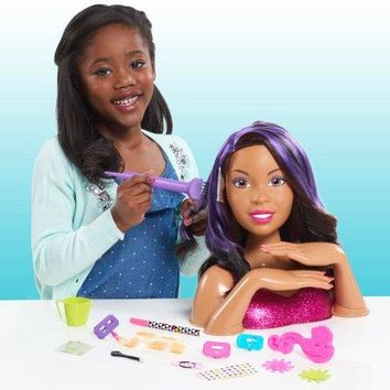 African American, Black Hair Styling Head and Manicure Nail Doll