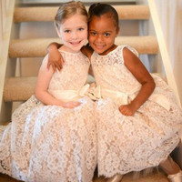 Dynamic Long Flower Girl Dress Scoop Neck Tank Mid-Calf A-Line Girls Dress To Wedding Party Lace Ribbon Bow Flower Girl Dresses