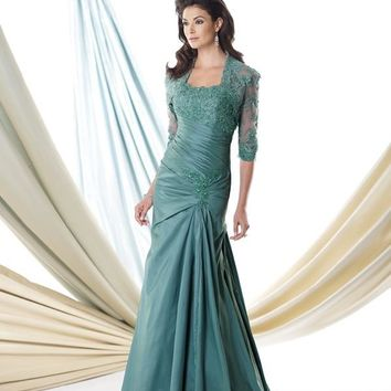 Montage 114904 Ruched Lace Dress