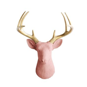 The Virginia | Large Deer Head | Faux Taxidermy | Salmon + Gold Antlers Resin