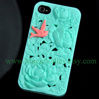 Mint Green Flower Iphone 4 Case with Pink Bird Fit by MagicValley