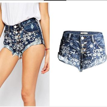 The hot cowboy jeans shorts pants for women