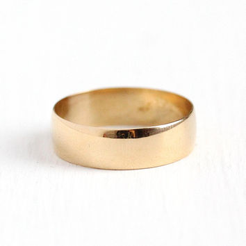 Men's Wedding Band - Size 8 Vintage 10k Rosy Yellow Gold Ring - Art Deco 1920s Classic Simple Unadorned Unisex Fine Stacking Jewelry