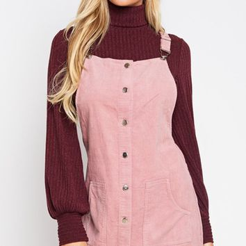 Jumping In Place Pink Corduroy Snap Front Overall Jumper Casual Mini Dress