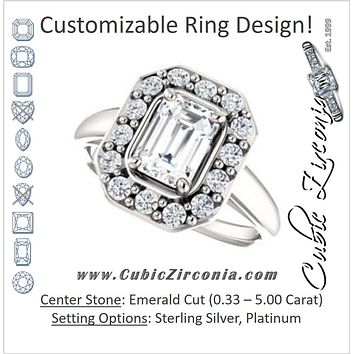 Cubic Zirconia Engagement Ring- The Esperanza (Customizable Cathedral-set Emerald Cut Style with Large Cluster Halo Accents and Tapered Band)