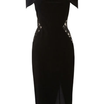 LACE AND VELVET BARDOT DRESS