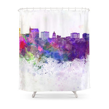 Society6 Boise Skyline In Watercolor Background Shower Curtain