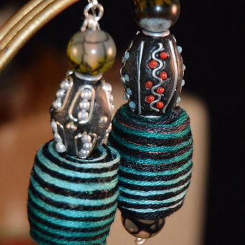 Asymmettrical Blue/Black Dragon Vein Earrings. Agate. Yarn. Beads. Poly Clay. Dragon Vein. Semiprecious Stones. Earrings. Dangle