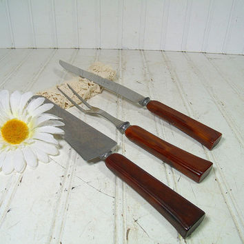 Vintage Three Piece Early Bakelite Brown Handles Carving Set - Antique Robinson Knife Co. Stainless Steel Made in U.S.A. Knife Fork Server