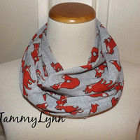 Ready To Ship! Childs Heather Gray Grey and Orange Fox Family Animal Jersey Knit Fashion Infinity Scarf Girls and Boys Accessories