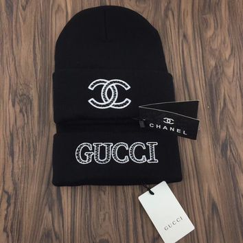 Gucci / Chanel Embroidered Logo Knit Hat Cap