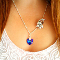 Blue Heart Charm Lily Chain Necklace