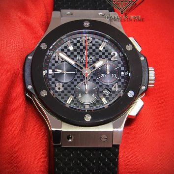 Hublot Big Bang Chronograph Steel Ceramic Black Carbon Dial 44mm Watch 301-W
