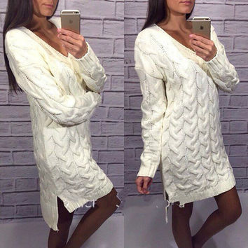 Fashion Dip Hem Braid Knitting Long Sweater