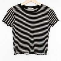 Striped Cropped Ringer Tee