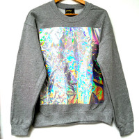Crumpled Holographic Panel Sweatshirt - Grey