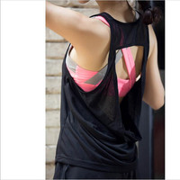 New mesh women tank tops hollow out backless sleeveless quick dry sport fitness loose smock gym top clothing cropped vest