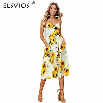 ELSVIOS 2018 Sunflower Pineapple Floral Print Summer Dress Women Beach Boho Style Sexy V Neck Strap Backless Midi Vestidos