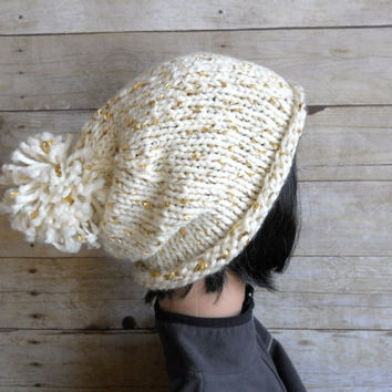 Cream and Gold Slouchy Beanie, Ivory Pom Pom Beanie with Metallic Gold Accents, Winter White Knit Hat, White Ski Hat, Glam Snowboard Beanie