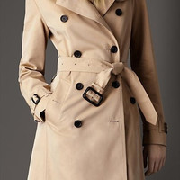 Notched Collar Buckle Sleeve and Waist Tie Long Trench Coat