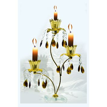 "Vintage 14"" 3-light Gold Metal Candelabra Wedding Centerpiece Candle Holder"