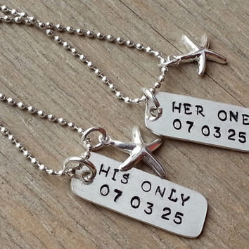 Her One His Only, Mathcing, The Original, WITH DATE, Couples Jewelry, Hand Stamped Stainless Steel Necklace Set, Sterling Silver Heart Charm