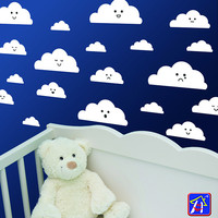 Cloud decals - Cloud stickers set of 20 - Clouds Wall Decals - Nursery Wall Decal Clouds - Clouds with funny faces - Mixed  Cloud decals